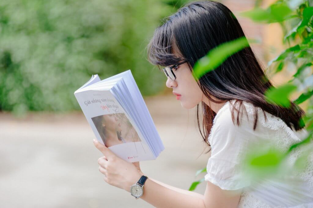 student is reading